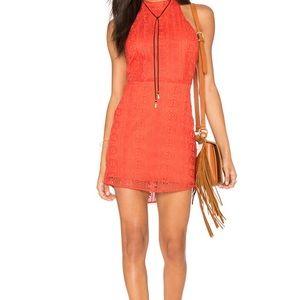 NWT Line & Dot Orange Mini Halter Dress